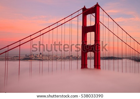 First Tower of the Golden Gate Bridge in Fog