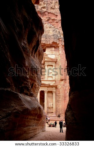 first view of the treasury of Petra, Jordan