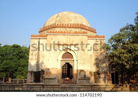Firuz Shah Tughlaq's Tomb, Delhi. The tomb of Firuz Shah Tughlaq is located in the Hauz Khas Complex in New Delhi. - stock photo