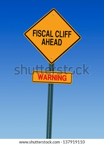 fiscal cliff ahead warning direction road sign - stock photo