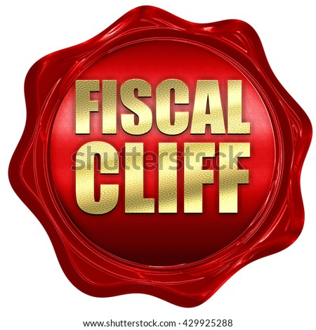 fiscal cliff, 3D rendering, a red wax seal - stock photo
