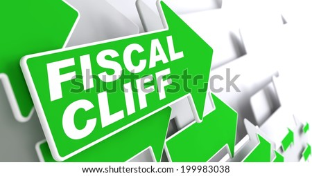 Fiscal Cliff on Direction Sign - Green Arrow on a Grey Background. - stock photo