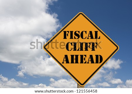 fiscal cliff roadsign with clipping path at original size - stock photo