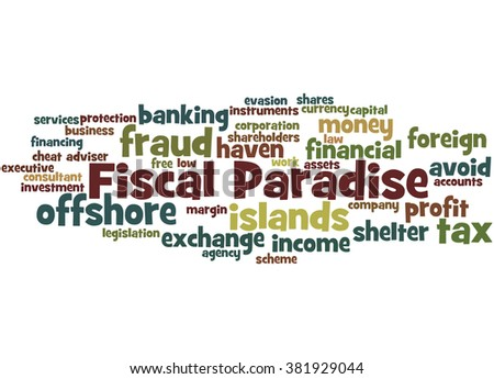 Fiscal Paradise, word cloud concept on white background.