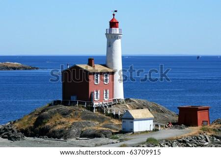 Fisgard Lighthouse in Victoria, Vancouver Island - BC, Canada - stock photo