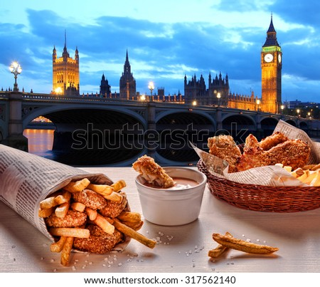 Fish and Chips against Big Ben in London, England - stock photo