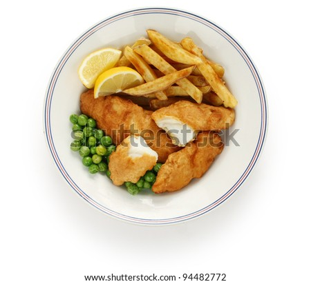 fish and chips, british food - stock photo