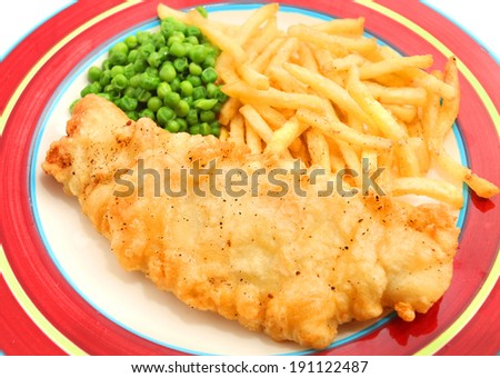 Fish and Chips isolated on the red plate