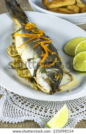 Fish and chips - oven baked Sea Bass with chips