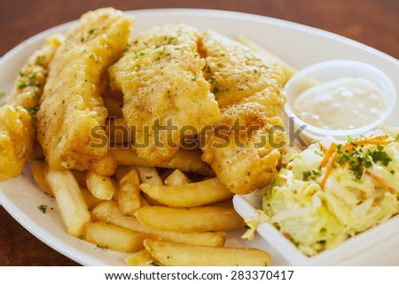 fish and chips with slaw