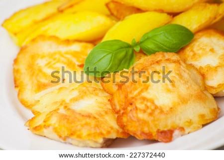 fish and potato - stock photo