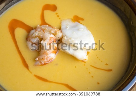Fish and seafood soup - stock photo