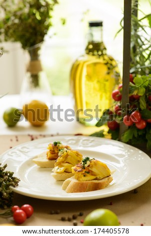 fish antipasti  - stock photo