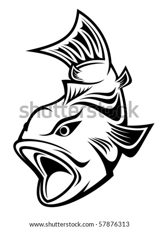 Fish as a fishing symbol - also as emblem or logo template. Vector version also available - stock photo