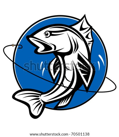 Fish as a fishing symbol for design - also as emblem. Vector version also available in gallery - stock photo