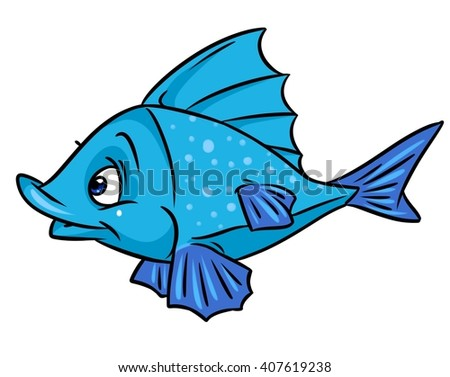 Fish blue cartoon illustration isolated animal character