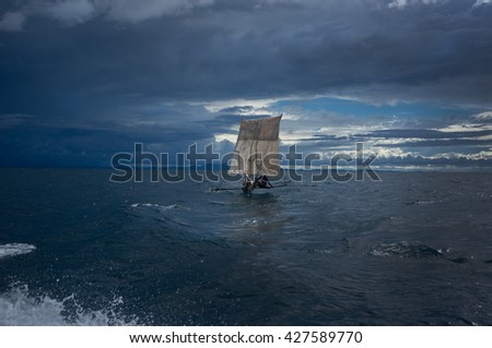 fish boat in the ocean, STORM, FISHING - stock photo