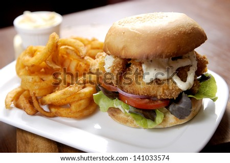 fish burger - stock photo