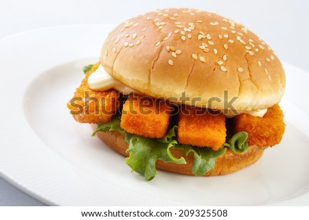 Fish burger and mayonnaise on white plate - stock photo