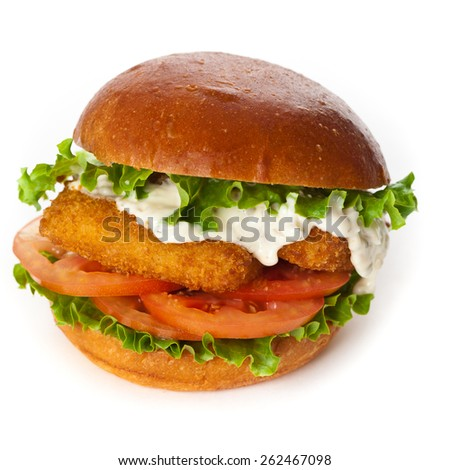 Fish burger on white background. Selective focus. - stock photo