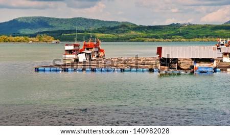 Fish cages. Phuket Thailand - stock photo
