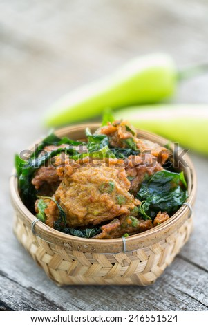 fish cake  or Tod mun Pla, an authentic thai snack - stock photo