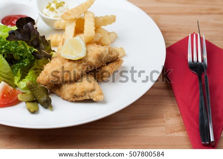 Fish & Chips With Mixed Salad