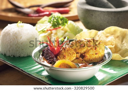 Fish curry set meal - stock photo
