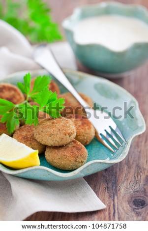 Fish cutlets and yogurt sauce, selective focus - stock photo