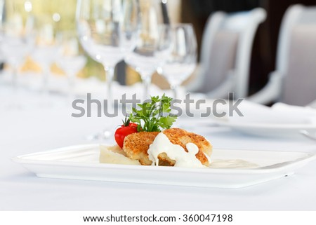 fish cutlets with mashed potatoes