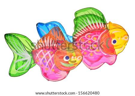 Fish Design Lanterns Isolated On White Background - stock photo