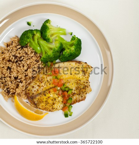Fish Dish - White fish fillet. Selective focus. - stock photo