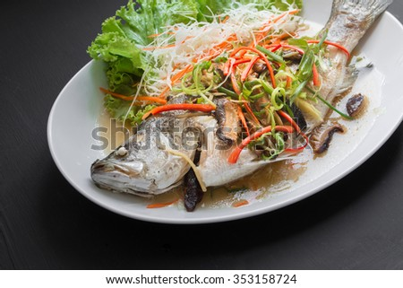 Fish Dishes - Steamed snapper Fish in soy Sauce. Thai foods - stock photo