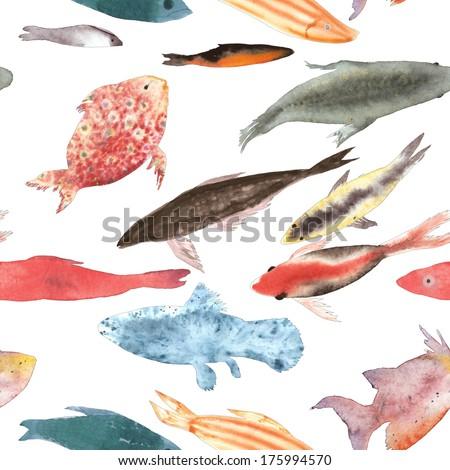Fish diversity seamless watercolor illustration - stock photo