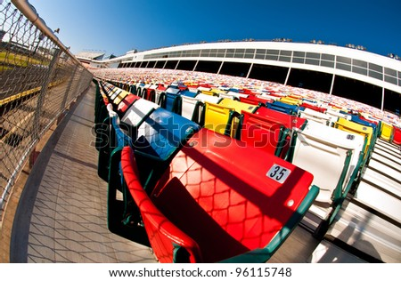Fish eye composition of vibrant stadium seating