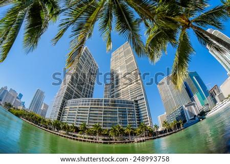 Fish eye view of  downtown Miami along Biscayne Bay. - stock photo