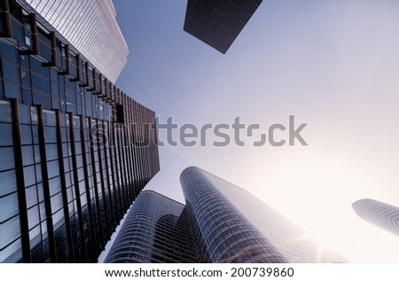 Fish-eye View of Modern Architecture in Paris. Business Concept - stock photo