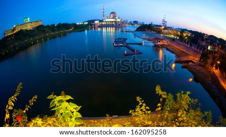 Fish eye view of Putrajaya Mosque during sunset at Malaysia,Asia - stock photo