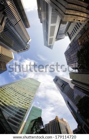Fish-eye View of the Singapore Skyline - stock photo