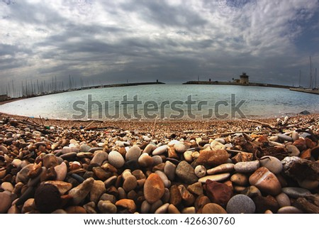fish-eye view of the touristic harbor in Fiumicino, Rome, Italy