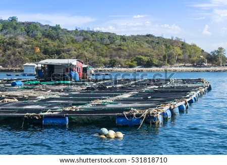 fish farm in the ocean with mountain background in Asia