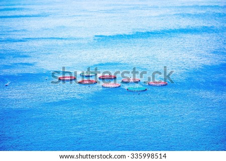 Fish farm, offshore in the Atlantic Ocean, Madeira Island - stock photo