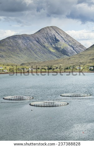 Fish Farm on Loch Ainort on the Isle of Skye in Scotland - stock photo
