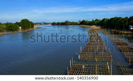 Fish farms in chanthaburi,Thailand. - stock photo
