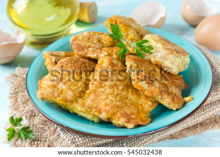 Fish fillet fried in egg batter