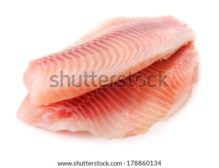 Fish fillet on white background - stock photo