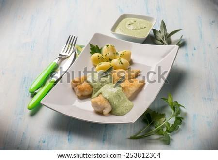 fish fillet with yogurt cream sauce - stock photo