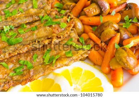 Fish fillets with vegetables and lemon - stock photo