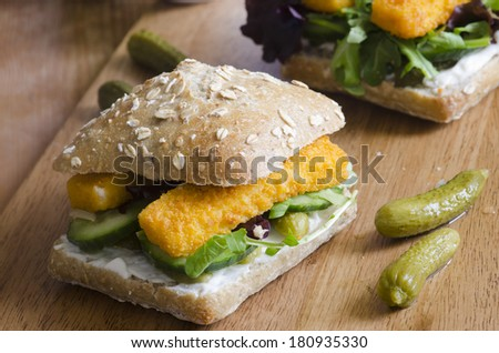 Fish finger sandwich - stock photo