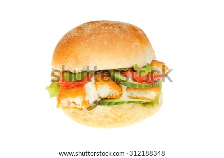 Fish fingers with salad and tartar sauce in a soft bread roll isolated against white - stock photo